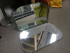 Two Art Deco wall mirrors, approx 60cm x 40cm.