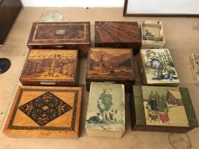 A Collection of nine musical boxes .