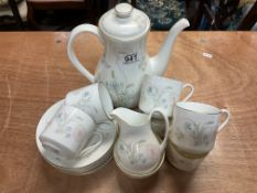 A Royal Doulton Flirtation pattern tea set (6 cups, 6 saucers, cream & sugar, Teapot). ( sugar