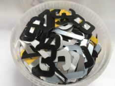 A large collection of aluminium letters and numbers suitable car number plates or house numbers