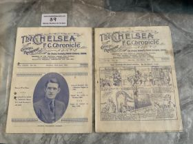 1930s Chelsea v West Brom Football Programmes: 31/32 has punch holes and 32/33 is fair with a couple