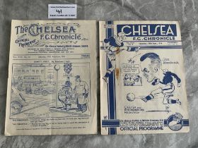 1930s Chelsea v West Brom Football Programmes: 34/35 is excellent and 36/37 has rust mark