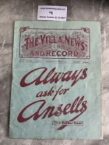 1931 Charity Shield Football Programme: West Brom v Arsenal at Aston Villa. Fair condition with