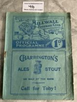 38/39 Millwall v West Brom Football Programme: Fair condition with no team changes. Tiny tear at