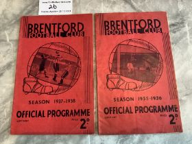 1930s Brentford v West Brom Football Programmes: 35/36 + 37/38 both in good condition with no team
