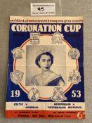 1953 Coronation Cup Football Programme: Celtic v Arsenal which doubles up as Hibernian v
