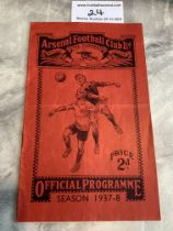 37/38 Arsenal v West Brom Football Programme: Good condition with no team changes. Score and scorers