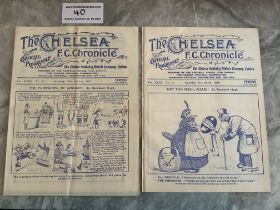 33/34 Chelsea v West Brom Football Programmes: FA Cup match has a team change and score noted.