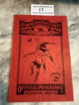 25/26 Arsenal v West Brom Football Programme: Very good condition with no team changes. Score