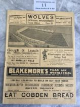 35/36 Wolverhampton Wanderers v West Brom Football Programme: Excellent condition with staple