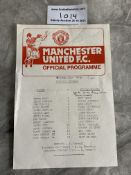 81/82 Manchester United v Sydney Olympic Football Programme: Incredibly rare friendly single sheet