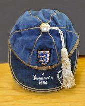 1954 England Full International Football Cap v Yugoslavia: Awarded to Johnny Nicholls of West Brom