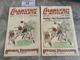 1930s Charlton v West Brom Football Programmes: 36/37 + 37/38 in very good condition with no team