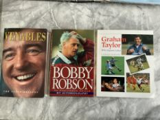 England Manager Signed Football Books: Graham Taylor Bobby Robson and Terry Venables all signed