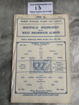 31/32 Sheffield Wednesday v West Brom Football Programme: Ex bound as no staples and in excellent