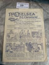 1921/22 Chelsea v West Brom Football Programme: Good condition with pencilled team changes.