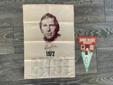 Bobby Moore West Ham Tea Towel + Pennant: Very rare tea towel which has a portrait picture of
