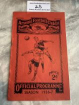 36/37 Arsenal v West Brom Football Programme: Good condition with no team changes. Rusty staples