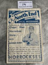 34/35 Preston North End v West Brom Football Programme: Fair condition with rusty staples holding