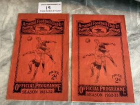 31/32 + 32/33 Arsenal v West Brom Football Programmes: 31/32 has previously been wet and has