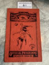 34/35 Arsenal v West Brom Football Programme: Good condition with no team changes. Note written to