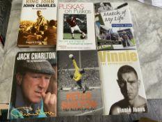 Signed Football Books: Autobiographies of Vinnie Jones Jack Charlton Peter Shilton John Charles