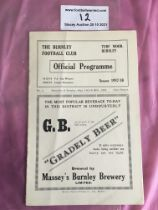 37/38 Burnley Reserves v West Brom + Preston Football Programme: Excellent condition with no writing