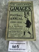 29/30 Gamages Football Annual: 500 page green pocket size annual in good condition. Season written