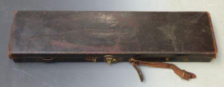 W W Greener leather bound shotgun case with fitted interior and original label 'WW Greener Gun Rifle