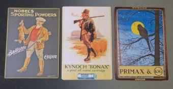 Three modern shotgun cartridge shop display or advertising boards Kynoch Bonax, Kynoch Primaz &
