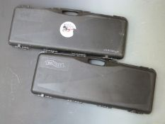 Two Waltham shotgun hard carry cases, both with padded interiors, 84 x 32 x 9cm