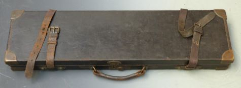 Holland & Holland leather bound wooden shotgun case with fitted interior, brass corners and original