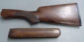 Perazzi semi-pistol grip shotgun stock (42.5cm long) and chequered forend (26.5cm long)