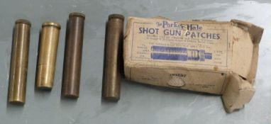 Four British Army oil bottle, three with Ministry marks, together with a box of shotgun patches