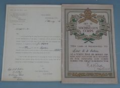 British Army WW1 Machine Gun Corps certificate presented to Lieutenant A W Erskine and his