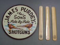 James Purdey & Sons Side By Side Shotguns cast metal shop display or advertising sign, 23cm in