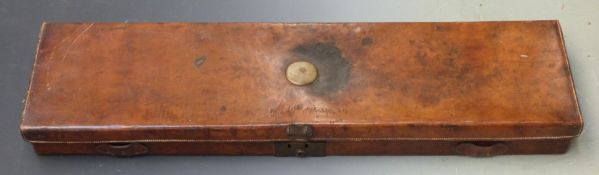 J D Dougall leather bound gun case with fitted interior, brass lock and name plate and original 'J D