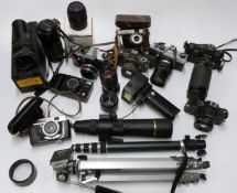 SLR and other cameras to include Nikon F-301 with Tamron 70-210mm 1:3.5 lens, Minolta AFT,