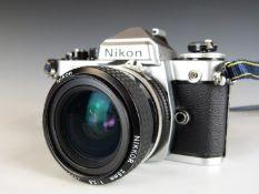 Nikon FE2 SLR camera with 28mm 1:2.8 lens