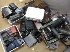 Large quantity of camera bags, lens cases and other photographic cases including Nikon, Olympus,