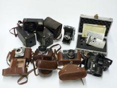 Collectable cameras to include Balda Rigona folding camera, FED 4, Agfa Isola, Zeiss Ikon Contessa