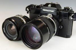 Nikon Nikkormat EL SLR camera with 135mm 1:2.8 lens and further 24mm 1:2.8 lens
