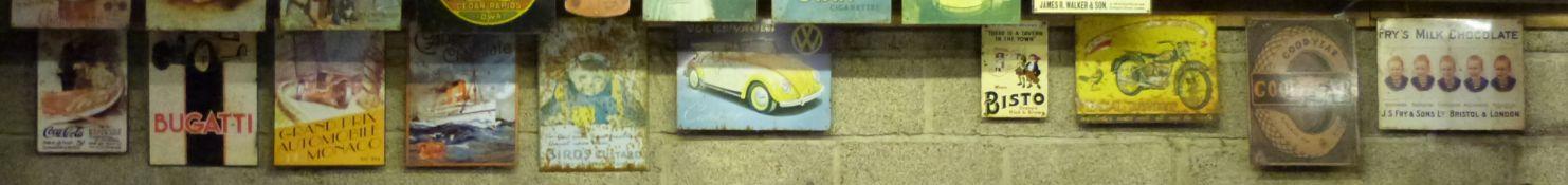Ten metal advertising signs including enamel Bisto example , BSA Bantam, VW and Bugatti,