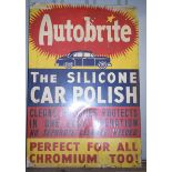 Vintage metal advertising sign 'Autobrite Car Polish' 74 x 50cm