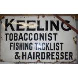 Vintage enamel advertising sign 'Keeling Tobacconist Fishing Tacklist & Hairdresser', 91 x 145cm
