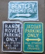 Three metal advertising signs to includeBentley, Range Rover & Jaguar, each approximately 35.5 x