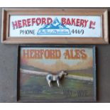 Two Hereford interest signs comprising Herford Ales & Hereford Bakery, largest 53 x 75cm