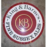 Vintage enamel advertising sign 'King & Barnes Fine Sussex Ales', diameter 46cm
