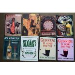 Eight metal advertising signs to include whiskey, Guinness, lager etc, each approximately 40 x 30cm