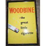 Vintage enamel advertising sign 'Woodbine Cigarettes', in frame